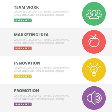 business innovation: Flat design concept for team work, marketing, innovation, promotion