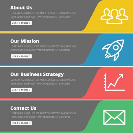 우리에 대해, 우리의 임무, 사업 전략, 연락처 - 웹 사이트 템플릿 플랫 디자인 컨셉