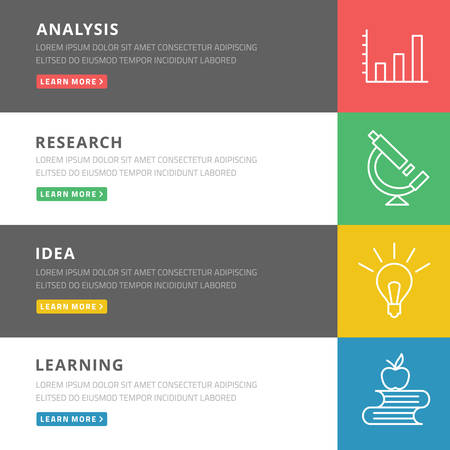 Flat design concept for analysis, research, idea, learning Vector