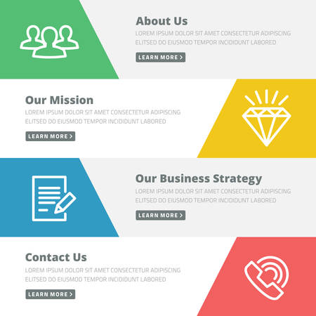 Flat design concept for website template - about us, our mission, business strategy, contact Ilustracja