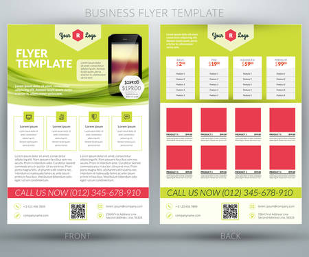 Vector business flyer template. For mobile application or online shop Illustration