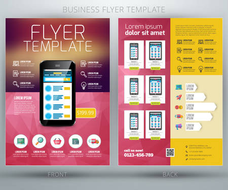 cover page: Vector business flyer template. For online shop Illustration