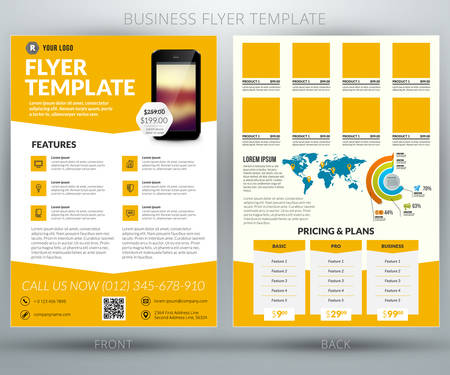 Vector business flyer template. Mobile application advertising