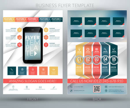 mobile application: Vector business flyer template. Mobile application advertising