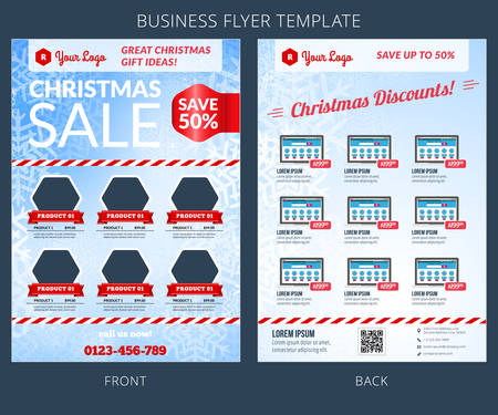 Christmas Sale Vector Business Flyer Template. EPS10