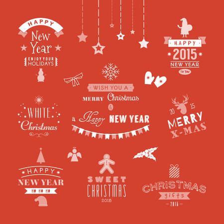 Christmas decoration set of design elements, labels, symbols, icons, objects and holidays wishes Vector