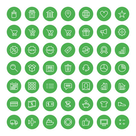 Thin line shopping and business icons set for web and mobile apps. White and green colors flat design. Money, bank, market, shopping, sale, delivery Illustration