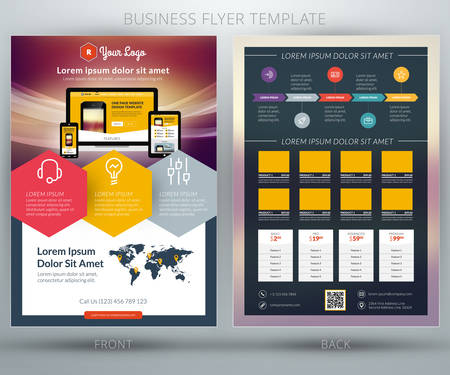 features: Vector business flyer template. For mobile application or online shop Illustration