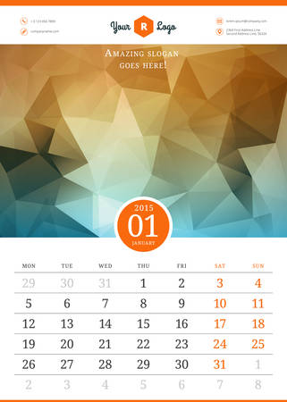 Calendar 2015. Vector template with abstract background. Week starts monday