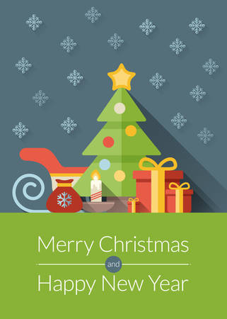 Christmas greeting card, icons and symbols, christmas tree, snowflakes, gift box, santa elements vector background