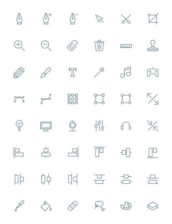 photoshop: Thin line design tools icons set for web and mobile apps. Gray icons on white background. Pen, tool, scissors, stamp, alignment, computer Illustration