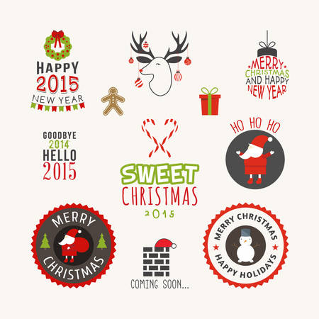 Christmas decoration set of calligraphic and typographic design elements, labels, symbols, icons, objects and holidays wishes Vector