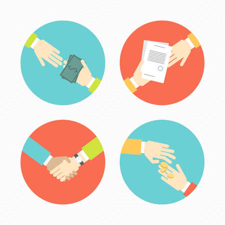 Hands with business object and icons, money, contract, partnership set flat design Vector illustration