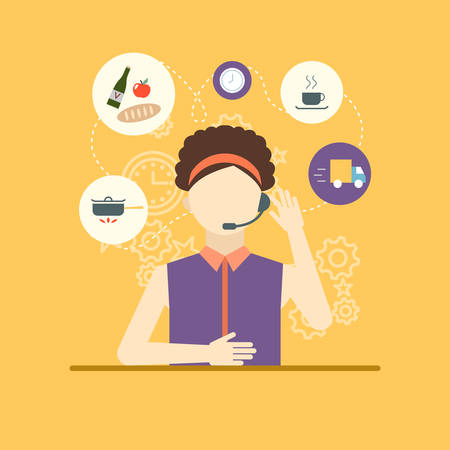 technical assistant: Technical support assistant woman flat design vector illustrations.