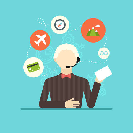 technical assistant: Technical support assistant man flat design vector illustration