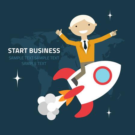 skyrocket: Flat design vector illustration of a businessman sitting on a rocket pointing and showing directions Illustration
