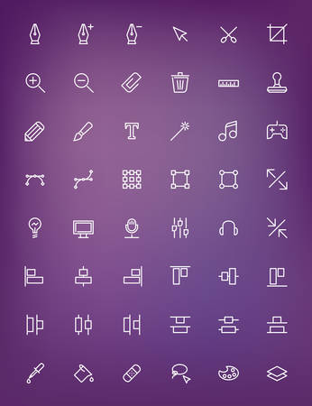 Thin line design tools icons set for web and mobile apps. White icons on the blurred purple background. Pen, tool, scissors, stamp, alignment, computer