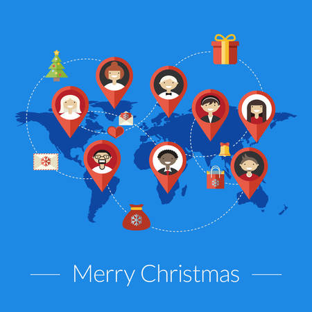 Social media and christmas congratulation concept in flat design style. Business background, global communication, connection between people