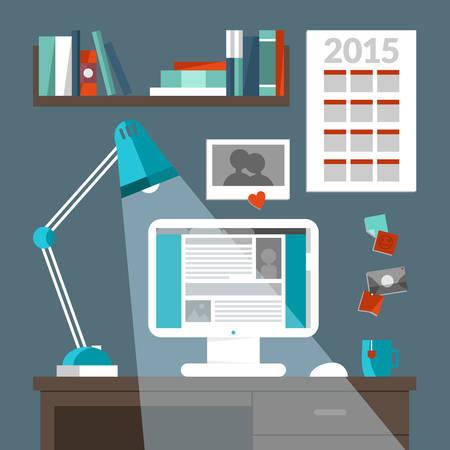 modern home: Flat design vector illustration concept of modern home or business work space