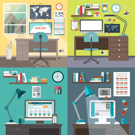 Set of vector illustrations in flat design style. Modern home or business work space