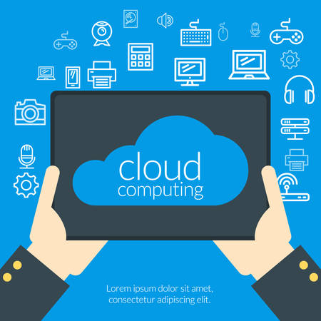 Cloud computing concept in flat design style. Hand of the person with the tablet pc surrounded by icons Vector