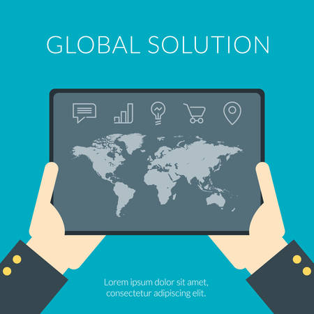 tablet pc in hand: Global solution flat design concept. Hand of the person with the tablet pc with map