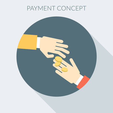 giving money: Payment concept. Hand giving money to other hand. Flat design style vector illustration