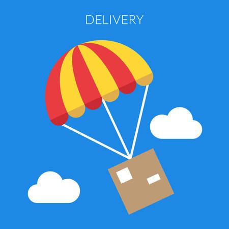 fallschirm: Lieferkonzept. Vector Illustration eines Box und Fallschirm in flache Bauform