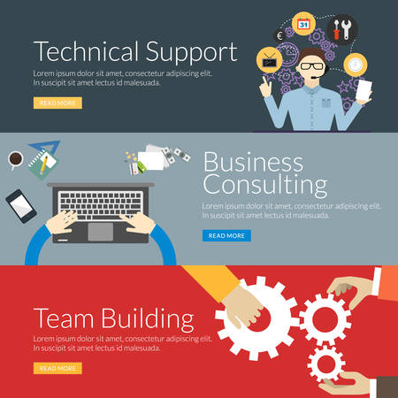 テクニカル サポート、ビジネス ・ コンサルティングとチーム ビルディングの平らな設計コンセプト。Web バナー広告や販促資料のベクトル イラス