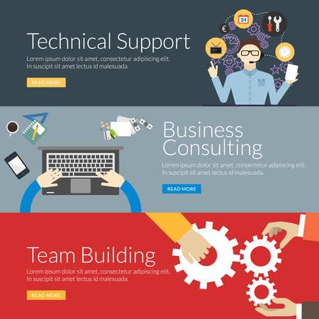 Concepto de diseño plano para soporte técnico, consultoría de negocios y trabajo en equipo. Ilustración vectorial para banners web y materiales promocionales