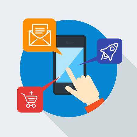 Mobile concept. Hand of the person with mobile device in flat design style