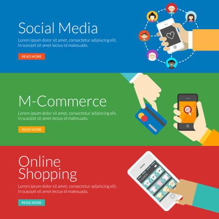 interaccion social: Concepto de dise�o Piso en medios de comunicaci�n social, el m-commerce y las compras en l�nea. Ilustraci�n vectorial para la web banners y materiales promocionales