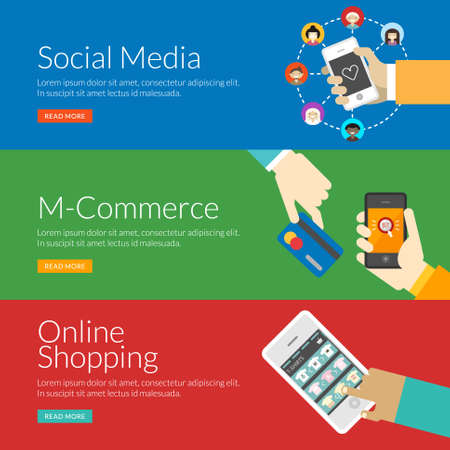 social web sites: Flat design concept for social media, m-commerce and online shopping. Vector illustration for web banners and promotional materials