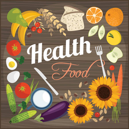 eating healthy: Healthy food flat objects fruits and vegetables background vector illustration Illustration