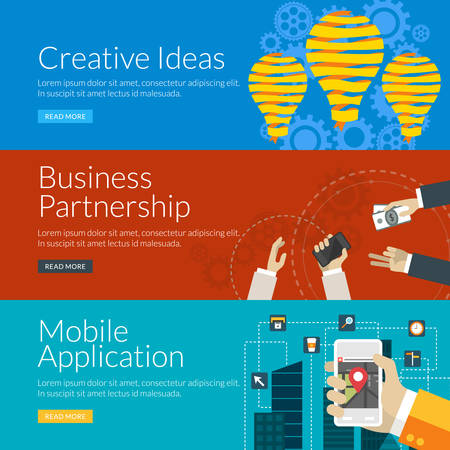 partnership: Flat design concept for creative ideas, business partnership and mobile application. Vector illustration for web banners and promotional materials