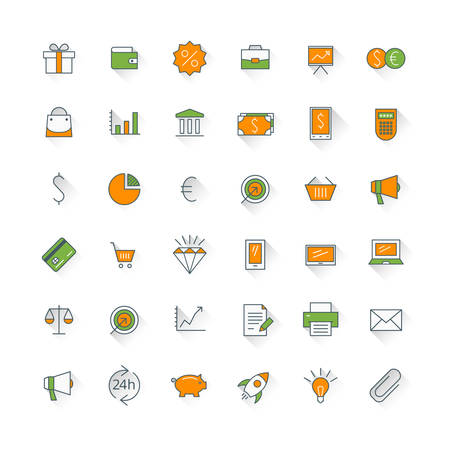 set of money: Business flat design icon set. Money, shopping, bank, card, promotion
