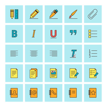 formatting: Text formatting icons. Vector icon set in flat design style. For web site design and mobile apps.