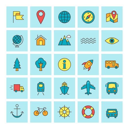 recreation rooms: Travel and Transportation. Vector icon set in flat design style. For web site design and mobile apps.