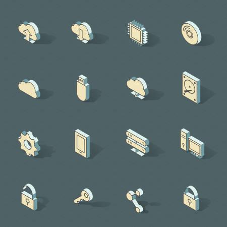 Vector isometric flat design icon set.  Vector
