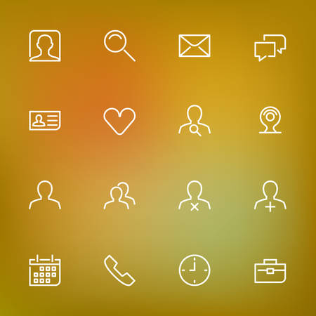 icon contact: White thin line icons set for web and mobile on color background
