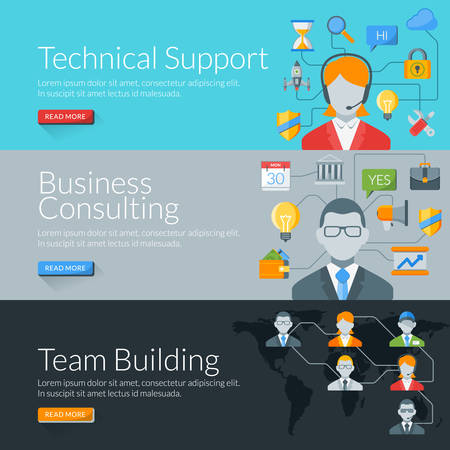 consulting team: Flat design concept for technical support, business consulting and team building. Vector illustration for web banners and promotional materials Illustration