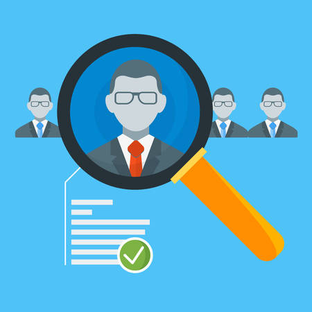 candidate: Hiring process concept with candidate selection. Vector illustration in flat design style