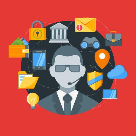 guardia de seguridad: Concepto de dise�o plano de la seguridad. Ilustraci�n vectorial para la web banners y materiales promocionales Vectores