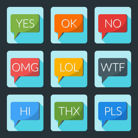 acronyms: Flat style icon set for web and mobile application. Colorful speech bubble with internet acronyms
