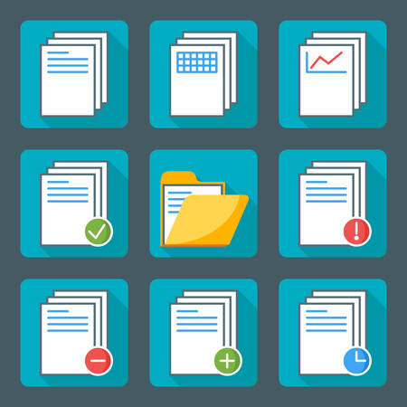 Flat style icon set for web and mobile application. Basic icons, document, folder Vector