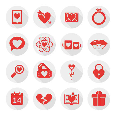 St. Valentines day flat design icon set. Love, wedding or dating romantic symbols. Heart, rings, love letters, gift Vector