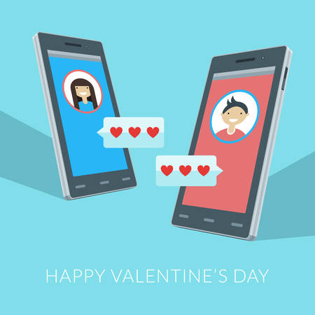 Smartphones with love sms, boy and girl icons on the screens