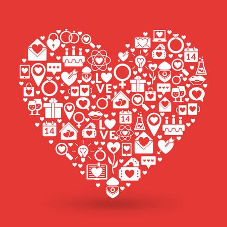 St. Valentinstag Kartenentwurf. Herz Der Liebe Ikonen Lizenzfreie Bilder    35160964