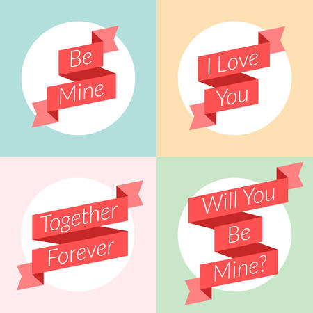 St. Valentines Day card design. Vector illustration in flat design style. Ribbons with text Illustration