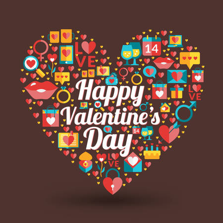 St. Valentines Day card design. Heart made of love icons Vector